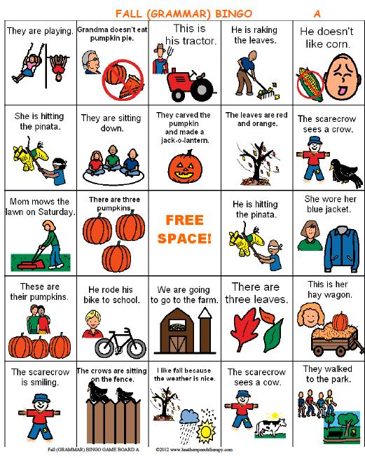 Fall Pronoun Bingo on third person singular verbs worksheets