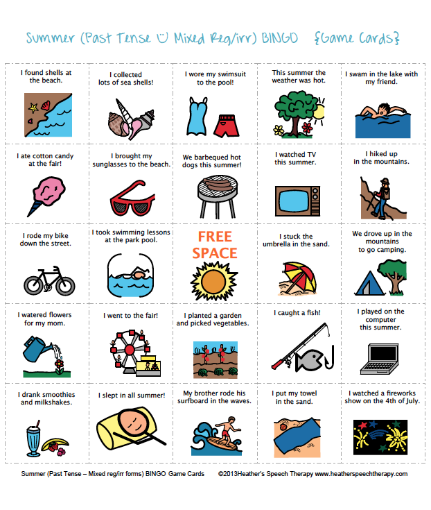Printables Speech Therapy Worksheets speech therapy summer bingo game