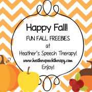 Speech Therapy Fall Worksheets and Activities