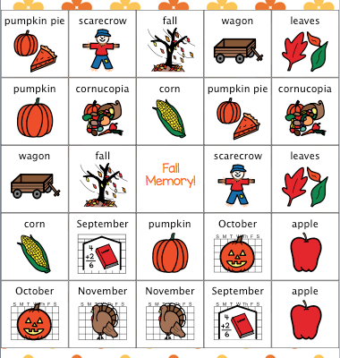 Fall and Autumn Memory Game for Speech Therapy