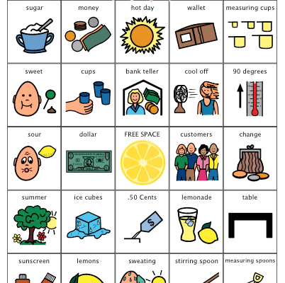 Lemonade Stand BINGO Game for Speech Therapy