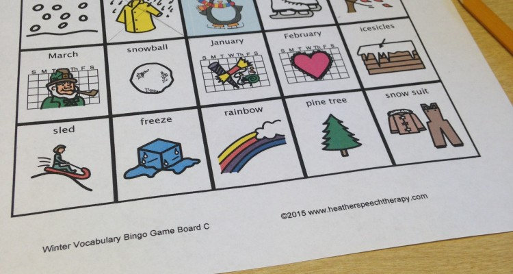 Winter Speech Therapy Bingo Game