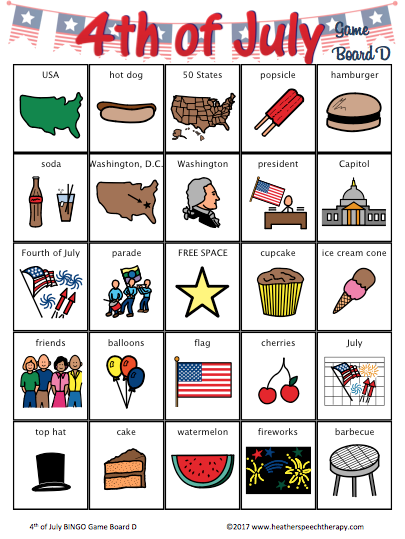 4th of July BINGO for Speech Therapy