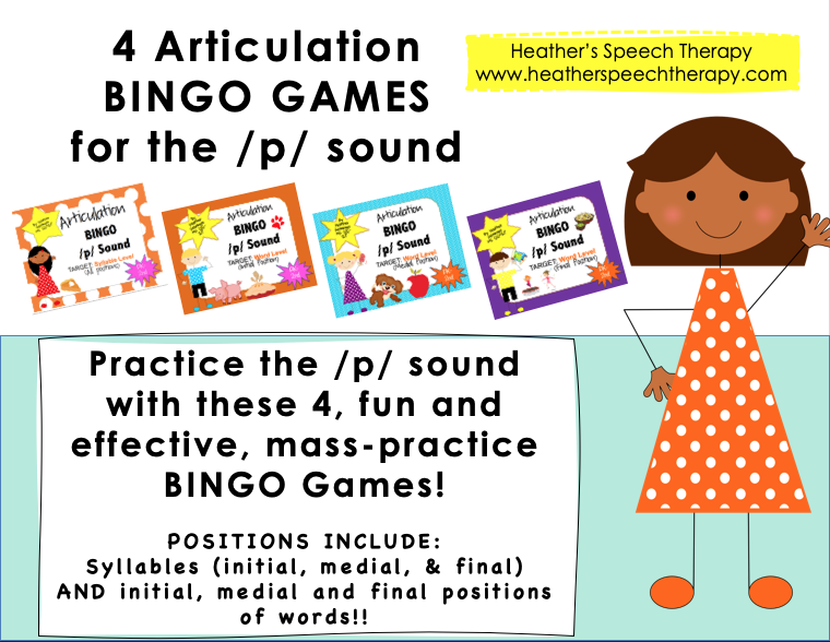 Articulation /p/ sound BINGO Game for Speech Therapy!