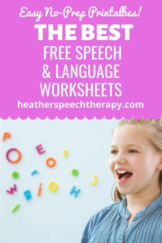Free speech and language worksheets for speech therapy