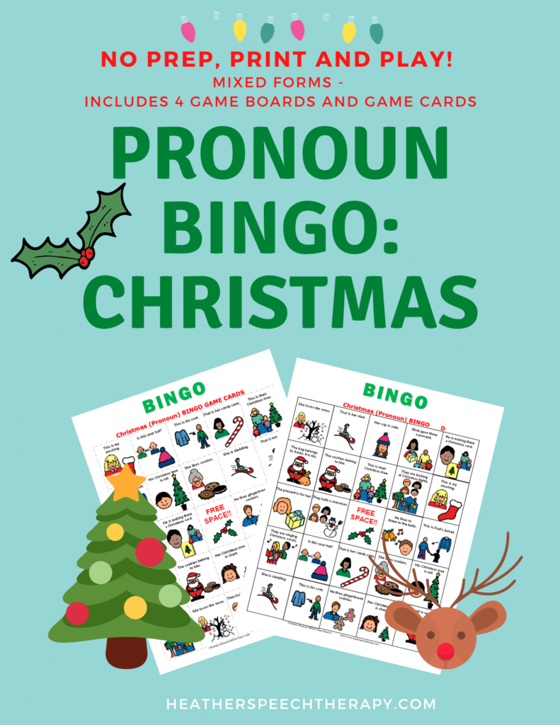 Pronoun bingo game Christmas theme