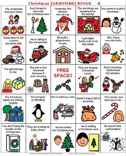 grammar - Christmas Bingo