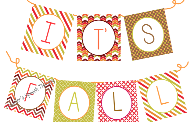 FREE Fall Banner for your Speech Therapy Room!