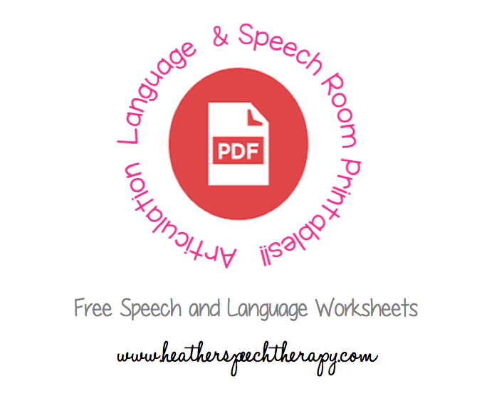 Speech Therapy Worksheets | Heather's Speech Therapy
