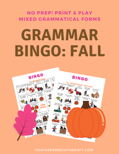 Grammar Bingo for Fall
