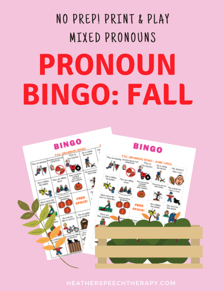Pronoun Bingo for Fall